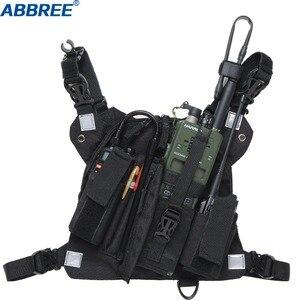 Image 3 - Abbree Radio Draagtas Borst Harnas Pocket Tas Holster Voor Baofeng UV 5R UV 82 UV 9R Tyt TH UV8000D Yaesu Walkie Talkie