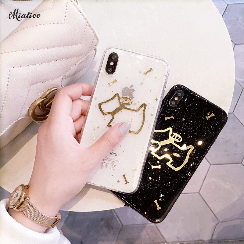 2018 Fashion crystal Gold Dog Back Cover Capa for iPhone X 8 8plus 7 7plus 6 6plus 6S 6Splus Soft Clear TPU Cover