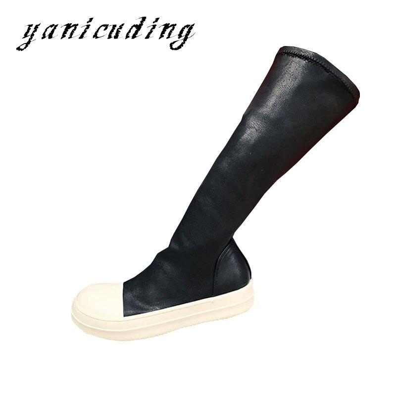 26d6e17f1cf Encima Las Por Flats Mujer Pasarela Negro Elástico Rodilla Zapatos Casuales  Moda La Mujeres Alta Delgado Botas Stretch Patchwork De Plataforma RzZZxEq