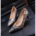 Women Shoes 2017 Spring Thin High Heels Pointed Slip On Ladies Shoes Woman Pumps Snake Skin Casual Shoes Zapatos Mujer