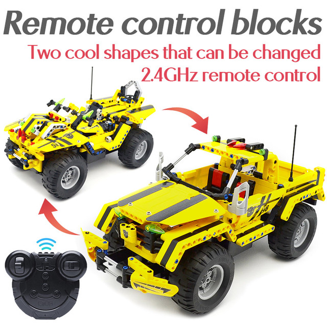 514PCS 2 IN 1 RC Off-road Vehicle Remote Control Car Assembled Bricks Building Blocks Car Model Toys For Children