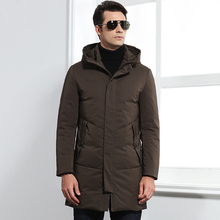 Brand 2018 New Winter Collection Men's Down Jacket Casual Mid Long Thick Warm Hooded White Duck Down Coat Men Outwears CO129
