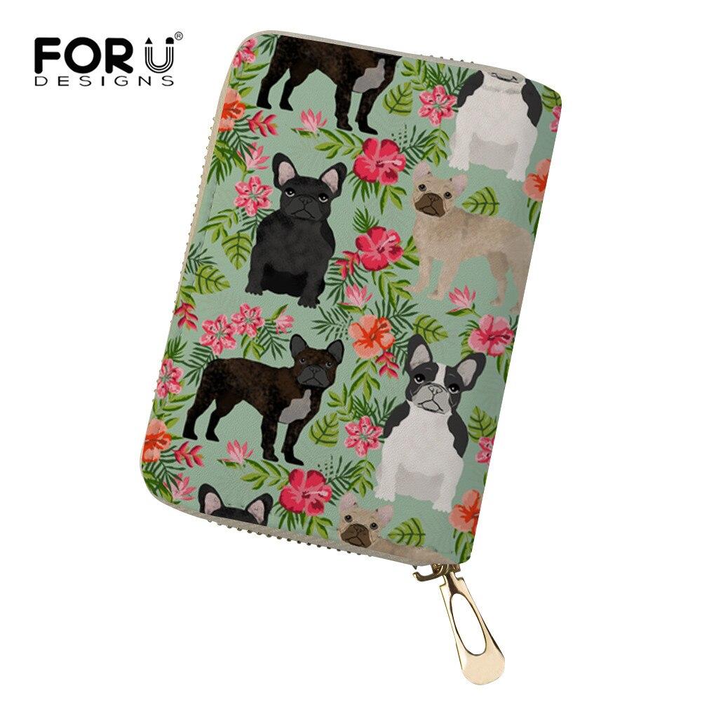 FORUDESIGNS Bull Terrier Travel Zipper Women Wallet Case Purse Organizer Bag Card Holder Business Ticket Pouch Packages Cover up wallet