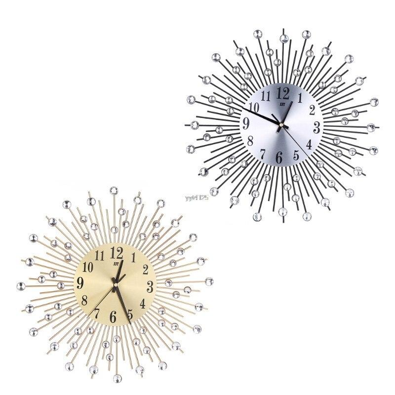2018 New Creative Diamant Moderne 3D DIY Silencieux Horloge Murale En Métal De Luxe Chambre Home Office Décor De Mariage Cadeau Mars