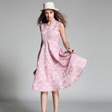 LIVA GIRL Women'S Dress Casual Elegant Pink Blue Sleeveless A-line Dresses 2017 New Summer Dress Prints V-neck Plus size