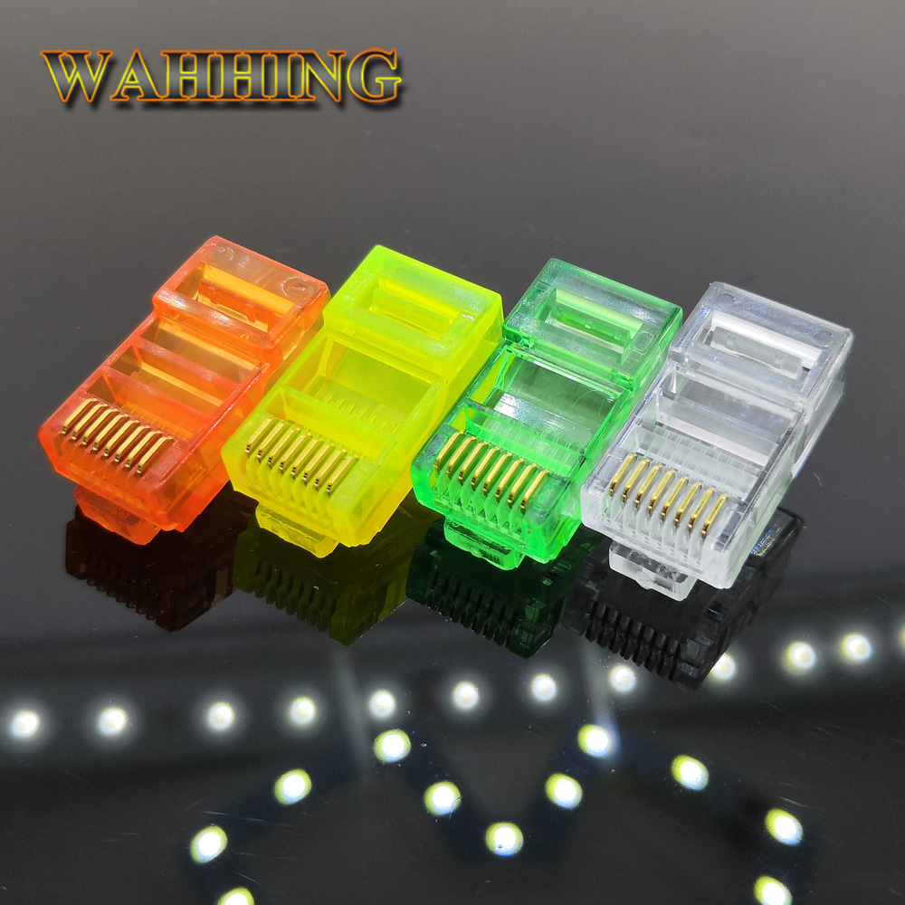 50/100 8Pin Konektor RJ45 CAT5 CAT5e Modular Colokan Kabel Socket Jaringan Ethernet RJ45 Colourful plug Konektor RJ45 HY327