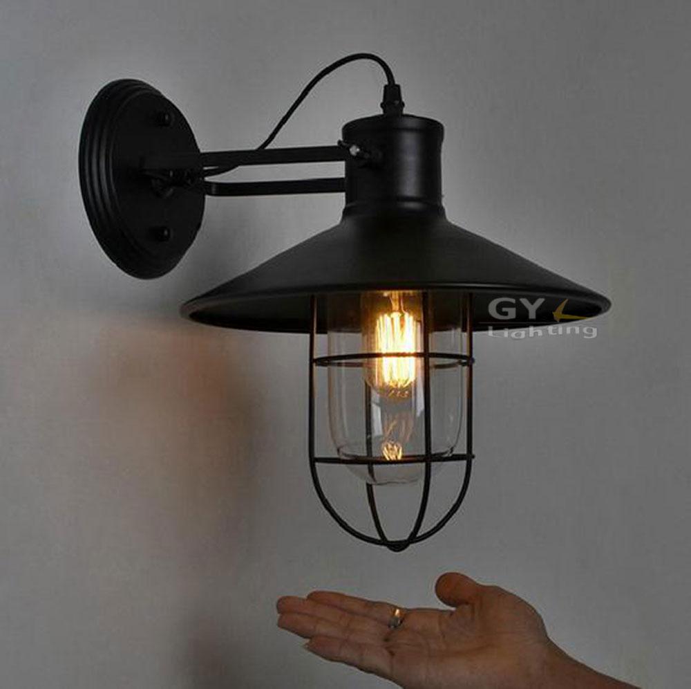 AC100 240V D27cm Black Metal Lampshade Wall Lights