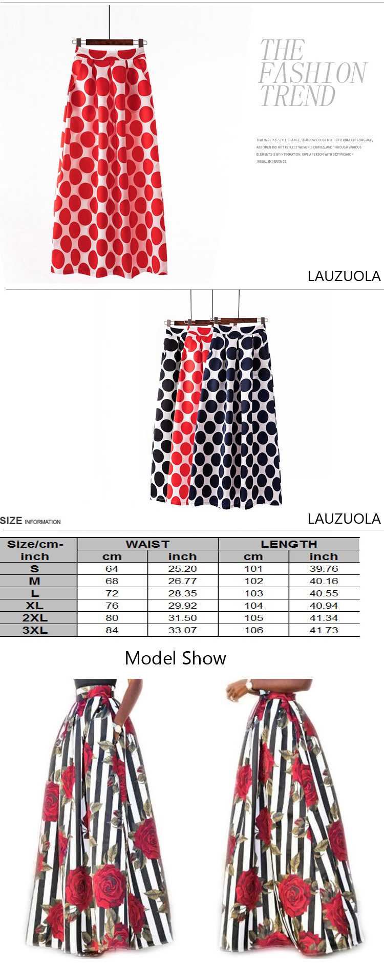 Plus size Maxi Skirt Summer Fashion Vintage High Street A-line High Waist Floral Polka Dot Long Skirts for Women 2020 Jupe Longa 29