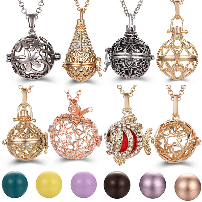 Popular Multi Styles Hollow Fruit Vintage Necklace Jewelry Music Ball Pregnancy Bell Necklace Aroma Essential Oil Locket Pendant