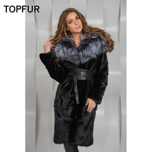 TOPFUR New Luxurious Natural Long Mink Fur Coat With Big Silver Fox Collar Winter Women Real Plus Size Pockets