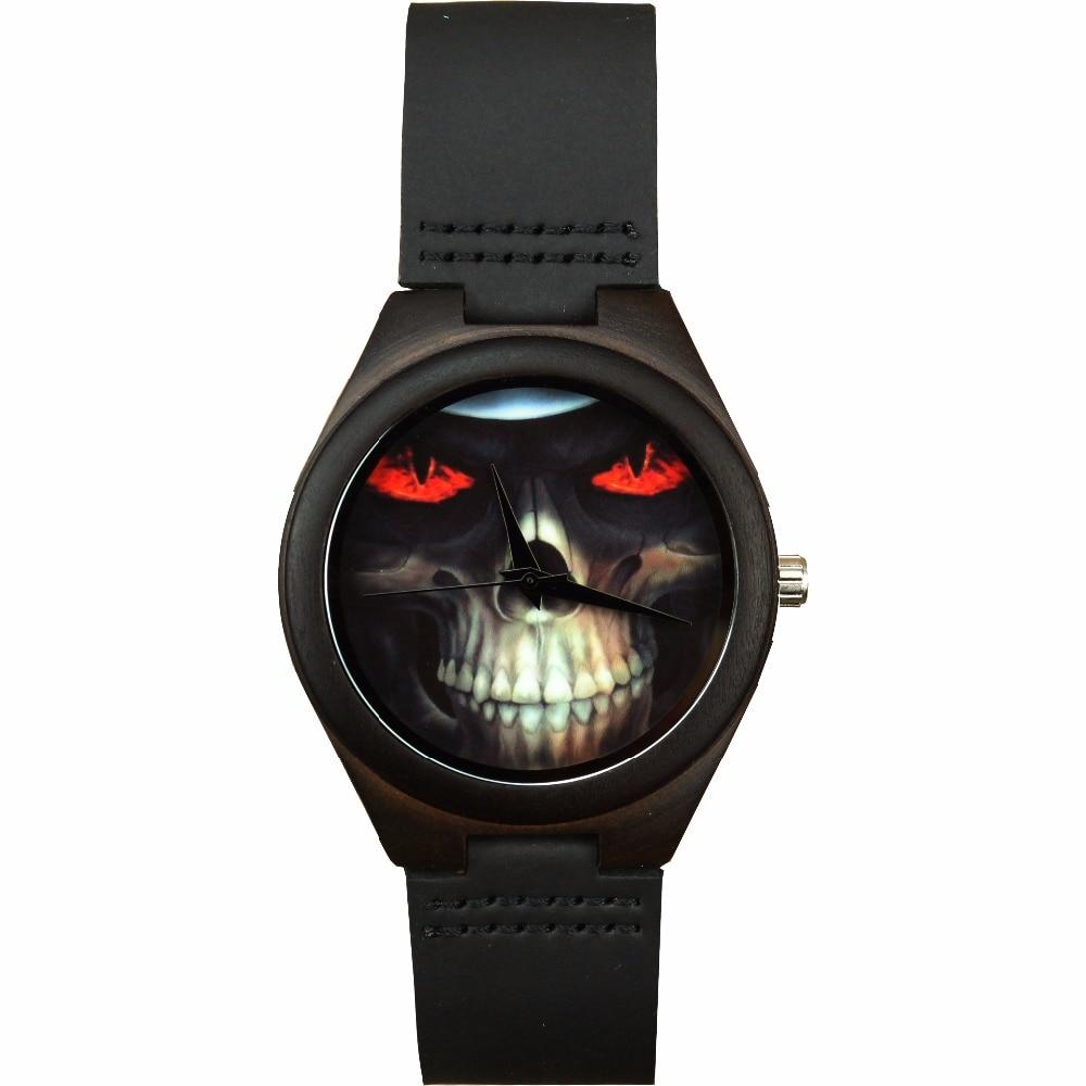 HOTIME Luxury Brand Men Watches Genuine Leather Strap Skull Head Watch Wood Male Wristwatch Relogio Masculino