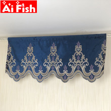 Window Valance European Embroidery Curtain Flocked Drape Rod Pocket 1 Piece Window Curtains for Bedroom Curtains Swag A15-40(China)