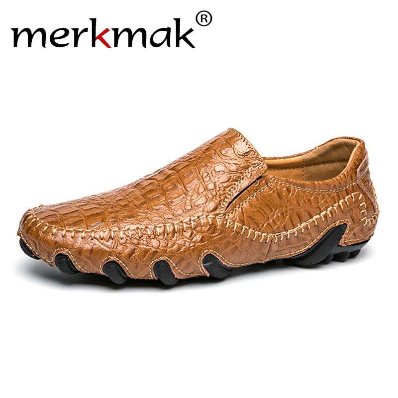 Merkmak Genuine   Leather   Men Shoes Big Size Casual Men Loafers Flats Shoes Moccasins Men's Footwear Cool Alligator Style