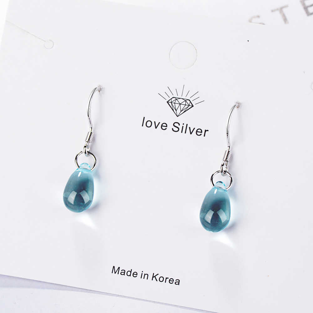 925 Sterling Silver Dangle Earrings Jewelry Water Drop Shape Blue Opal Natural Stone Pendants Drop Earrings for Women