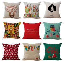 Vintage Deer Cushion Christmas tree Cotton Linen Sofa Decoration Car Decoration Throw Pillow Cushions Home Decor without filling