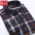 2017 New Men Shirts Cotton Long Sleeve Plaid Brand Mens Fashion Brushed Flannel Casual Slim Fit Social Shirt Cotton Chemise X007