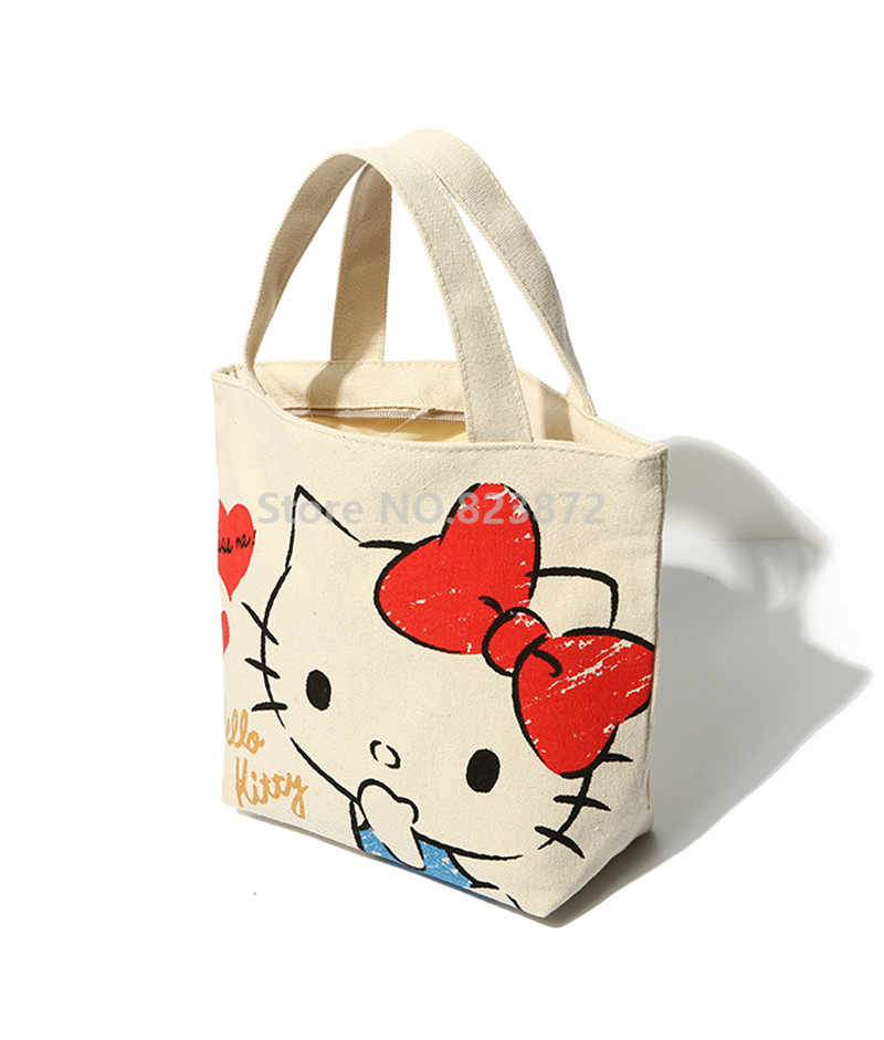 21bb42a332df ... Cute Cartoon Hello Kitty My Melody Canvas Tote Bag Handbag Lunch Bag  for Girls Kids School ...