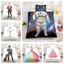 3D Children Boy Girl Baby Bedding set Astronaut Captain Bed duvet cover PillowCase White Color Single Twin Size 2/3pcs