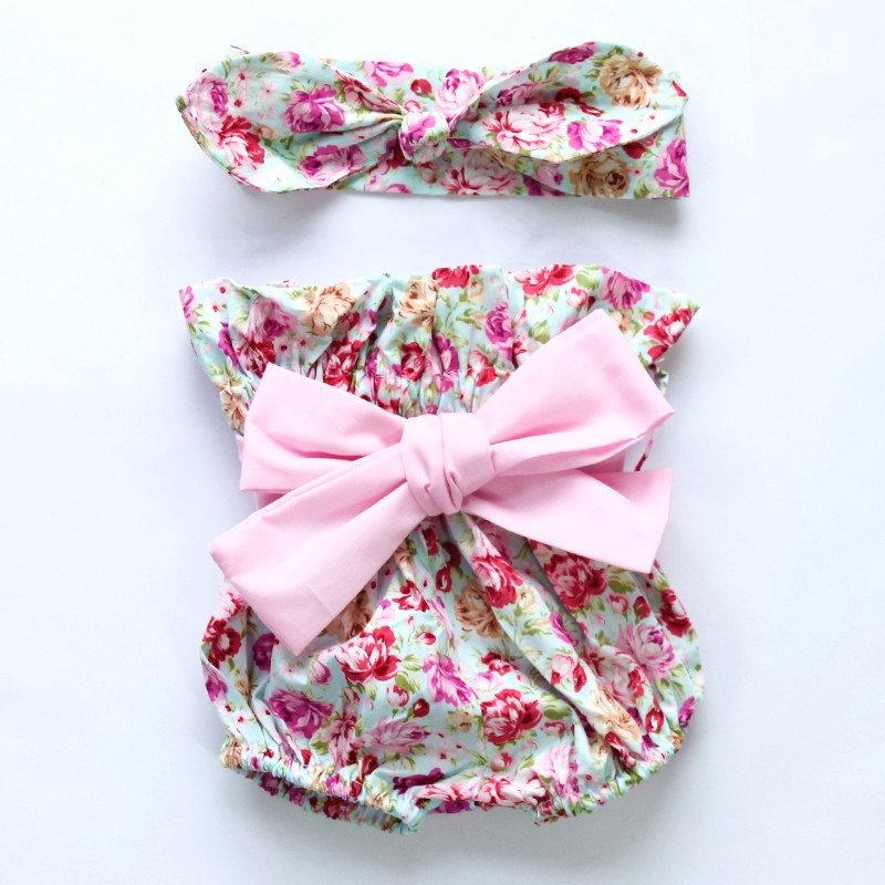 HTB1AO eMpXXXXbFXFXXq6xXFXXXS - 2015New arrival baby toddler summer boutiques baby girls vintage floral ruffle neck romper cloth with bow knot shorts headband