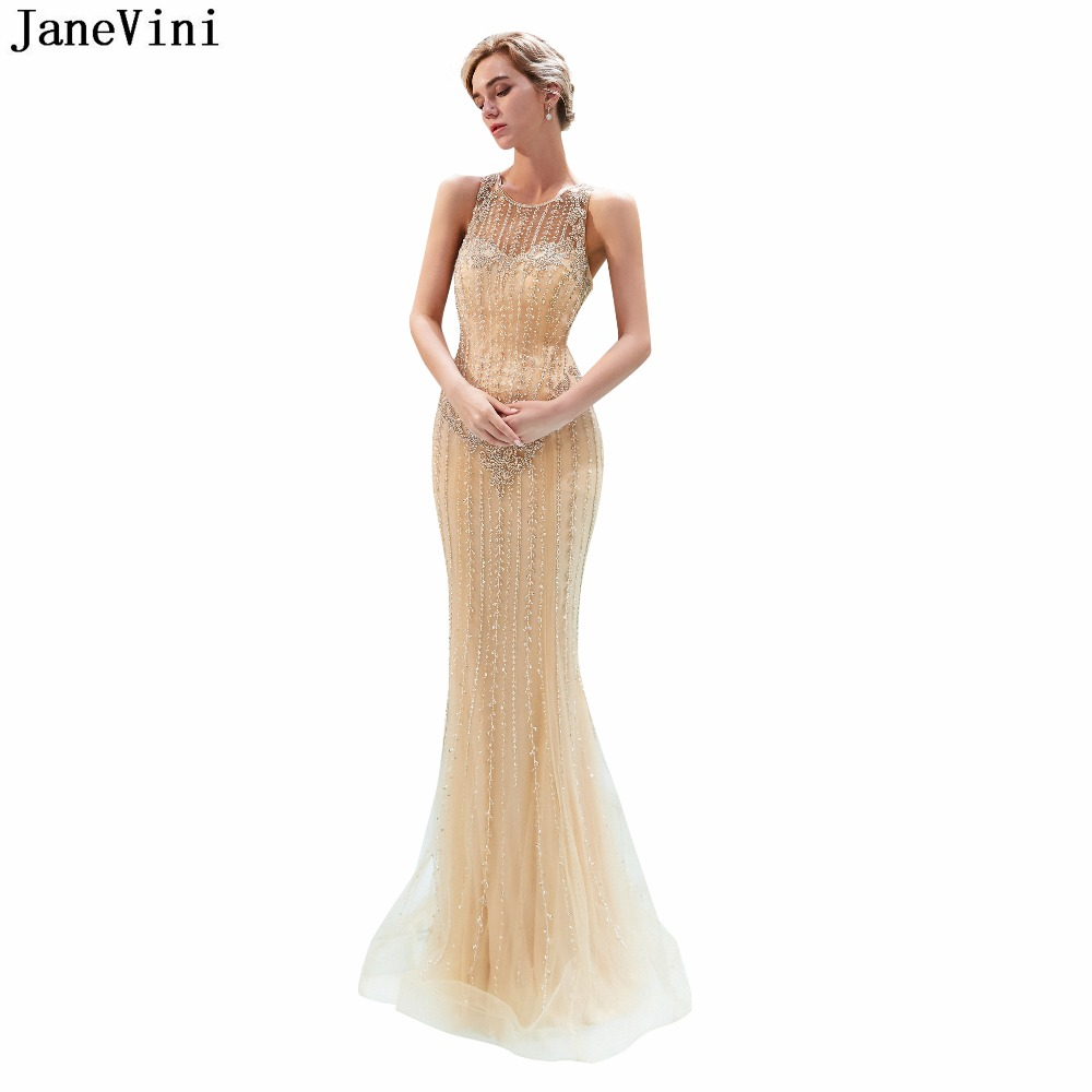 JaneVini Elegant Mermaid Tulle Long   Bridesmaid     Dresses   Floor Length 2019 Luxury Beading Illusion African Sexy Formal Prom Gowns