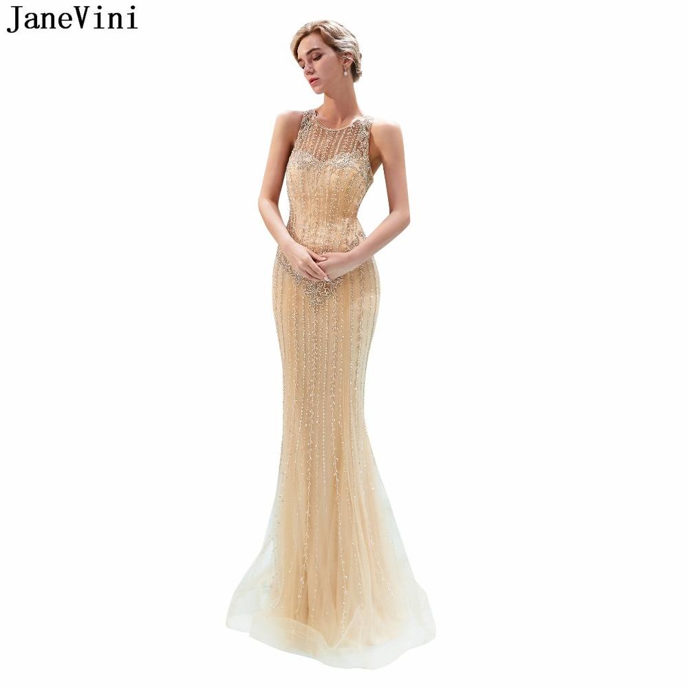JaneVini Elegant Mermaid Tulle Long   Bridesmaid     Dresses   Floor Length 2019 Luxury Beading Illusion African Sexy Formal Prom Gowns