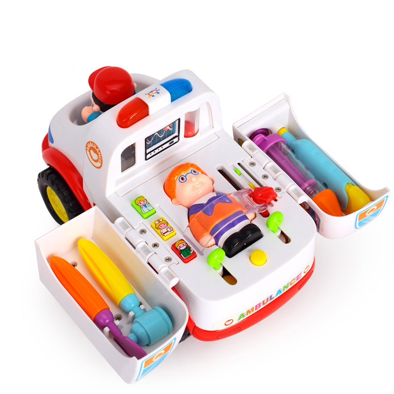 836 Ambulance Doctor Vehicle Set 2-in-1 Baby Toys Pretend Doctor Set & Medical Kit Inside Bump & Go Toy Car With Lights Sounds