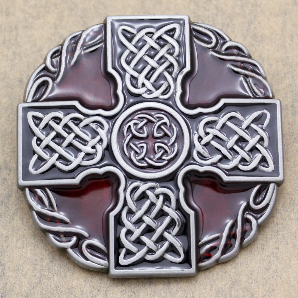 Unisex Western Silver Enamel Irish Norse Cross Trinity Knot Cowboy Belt Buckle Punk Rock Clothes Acessories 2017 New