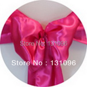 Free Shipping 110pcs Fuchsia Pink Satin Chair Sash 20x270cm For Wedding Events &Party De ...