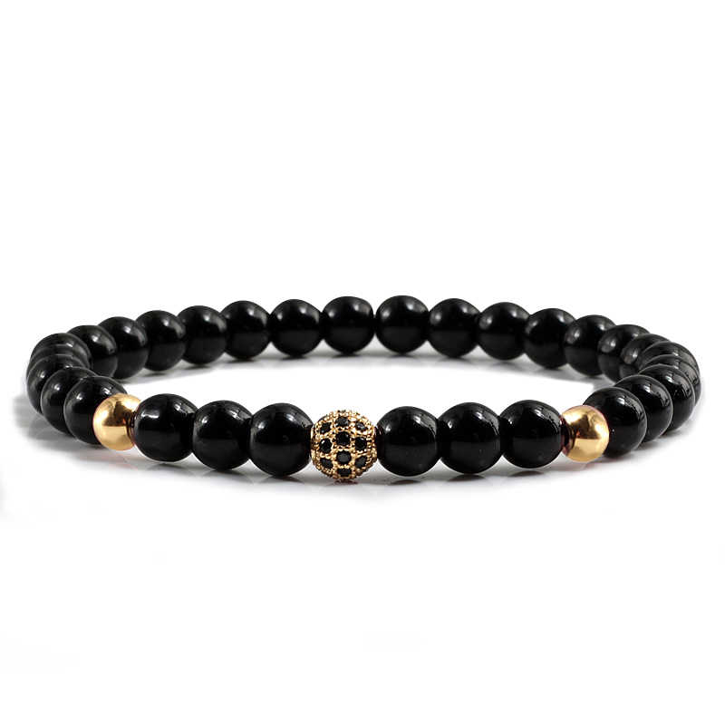 Trendy Classical Black Natural Stone Strand Bracelets Copper Sliver Crystal Fashion Round Beads Couple Bangles Women Men Jewelry