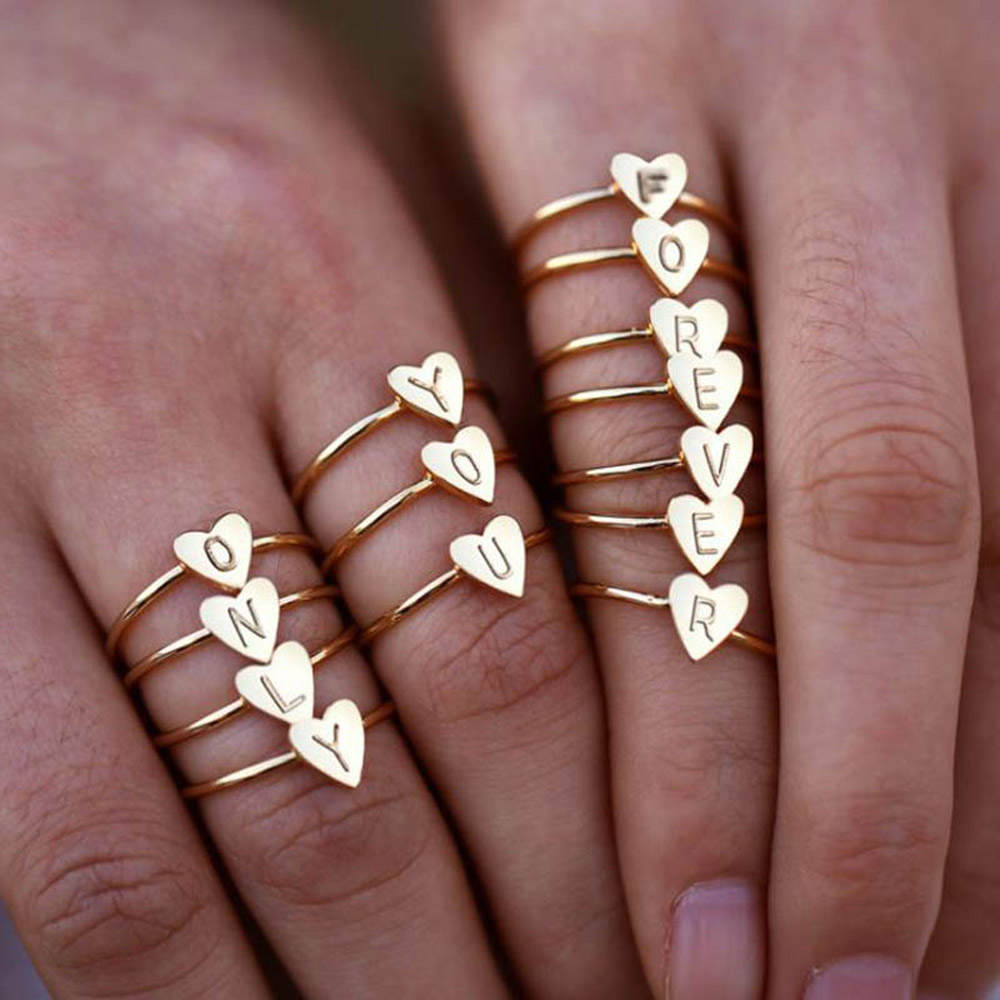 Adjustable Personalized Hand Stamped Stacking A-Z 26 Letters Initial Tiny Heart Rings for Women Gold Color Finger Rings Jewelry 4
