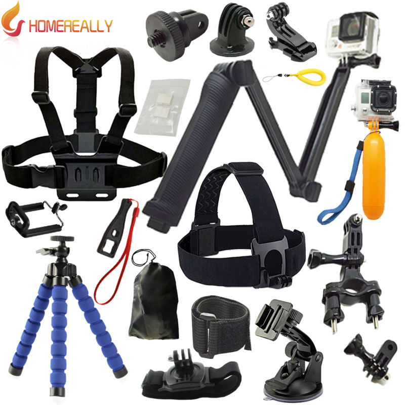 HOMEREALLY GoPro 3-Way Grip Arm Tripod Set Head Strap for Gopro Hero 5 4 3 2 Black Edition SJCAM SJ4000 SJ5000 SJ6 xiaoyi 4k M10 i am not your negro