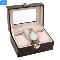 15 Discount Boxes Organizador Wholesale Supplier Luxury Crocodile Pattem Slots 3 Cases Gift Watch Box Leather