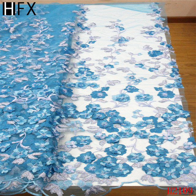 HFX African Lace Fabric 3d Appliques Embroidered French Net Lace Sky Blue Latest High Quality Tulle Lace Fabric with Beads X2109
