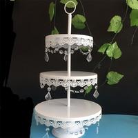 Soporte de la torta del metal blanco colgante de cristal de hierro soporte de la magdalena del banquete de boda proveedor decoración de torta de la hornada herramientas accesorias