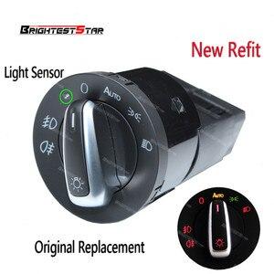 Image 1 - Red Golf 4 AUTO Scheinwerfer Schalter Licht Sensor Modul Upgrade Chrom Für VW Golf 4 Jetta MK4 Passat B5 Polo bettle Caddy