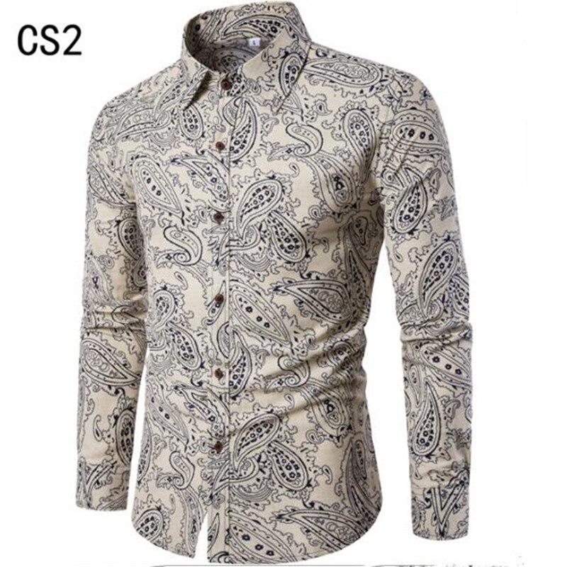 Spring/summer 2019 Men's Wear Big Lapel Long-sleeve Floral Shirt New Fashion Casual Long-sleeve Shirt Gentleman Casual Long Shir