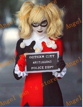free shipping custom made Batman Arkham Harley Quinn Halloween Carnival Cosplay Costumes Coverall For Adult font