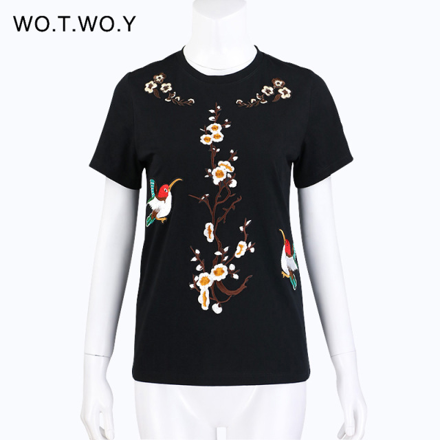 Birds Embroidery Cotton T-shirt Women 4