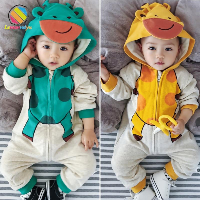 Lemonmiyu Baby 3D Cartoon Winter Rompers For Newborns Winter Warm Unisex Cotton Romper Plus Velvet Zipper 0 3T Baby One Piece