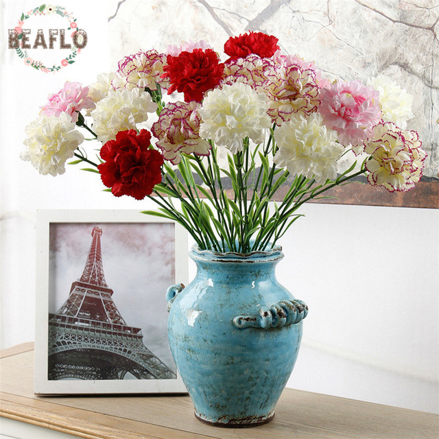1PC DIY Fresh Artificial Flower Carnation Silk Flower Fake plant for Mother's Day Home Party Decoration 7 Colors