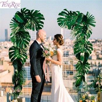 Fengrise Kunstmatige Palm Bladeren Plastic Monstera Leaf Wedding