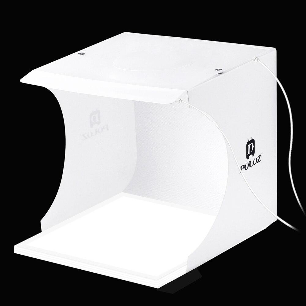 PULUZ Portable Mini Led Photo Studio Box Tabletop Shooting Soft Box Tent + Shadowless Bottom Light + 2*LED Panels + 6*Backdrops puluz 40 40cm 16light photo studio box mini photo studio photograghy softbox led photo lighting studio shooting tent box kit