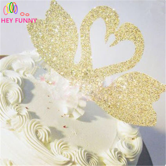 1pcs Glitter Paper Lovely Swan Love Heart cake Toppers Girl Baby ...