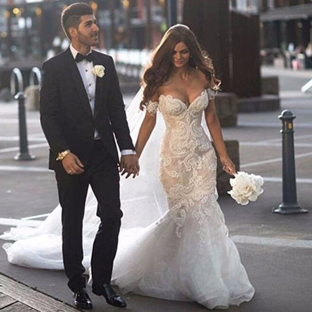 Pearl Beaded Lace Mermaid Floor Length Dress Off The Shoulder See Through Gowns for Wedding Party