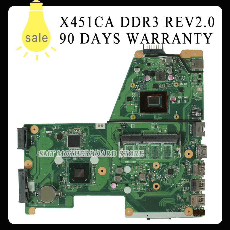 For Asus X451CA rev2.0 laptop motherboard with 2117u Integration DDR3 Tested  well &Free shipping for asus m50sr laptop motherboard m50vm rev 2 0 motherboards 100% tested free shipping