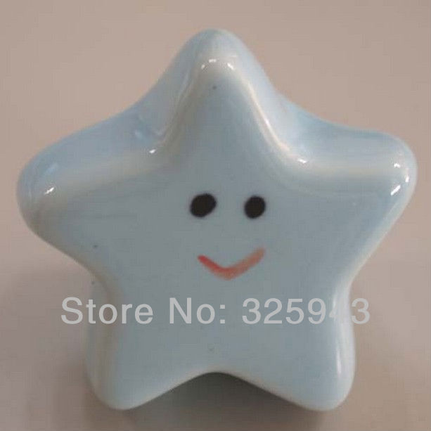 Cute Light Blue Starfish Kids Furniture Bedroom Ceramic Cabinet Knobs And Handles Dresser Drawer Pulls