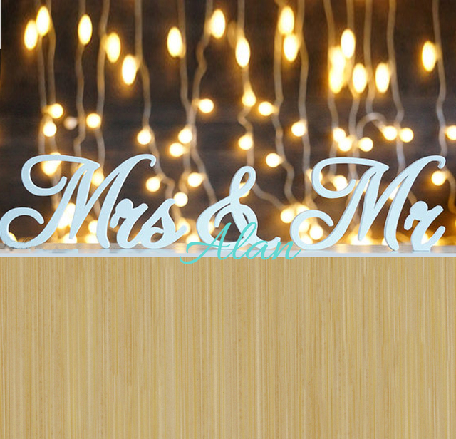 Wedding Decor Rustic Sign Mr Mrs Wooden PVC Letters Table Gift