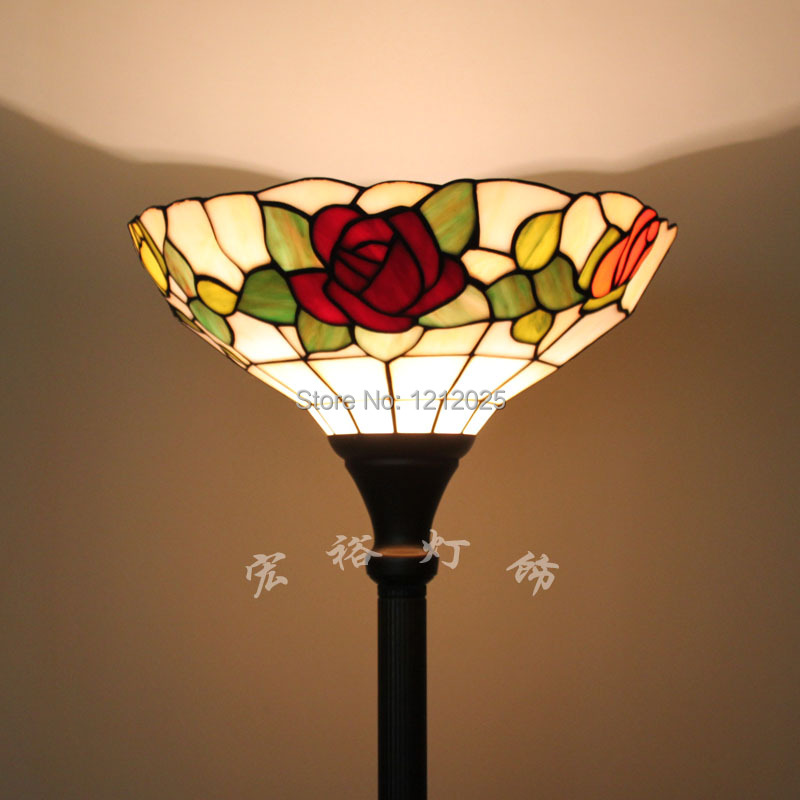 Sales Promotion Tiffany Stained Glass Rose Torchiere Lamp Floor Uplighter For Living Room Bedroom Standing Lights