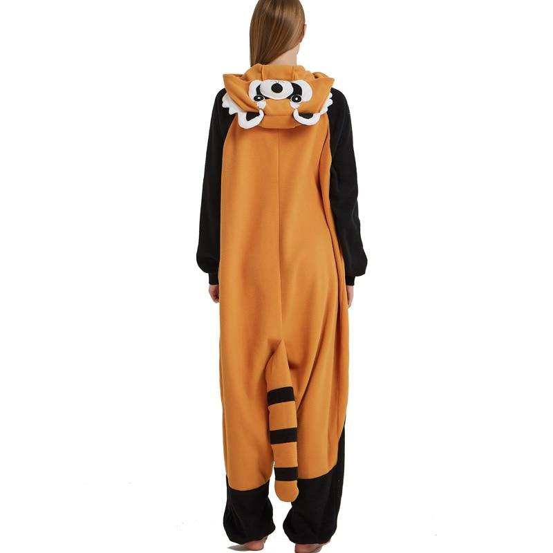 Women Onesie Raccoon Pajama Funny Cute Animal Party Suit Unisex Adult Winter Brown Black Jumpsuit Warm Sleep Wear Couple Pyjamas (3)