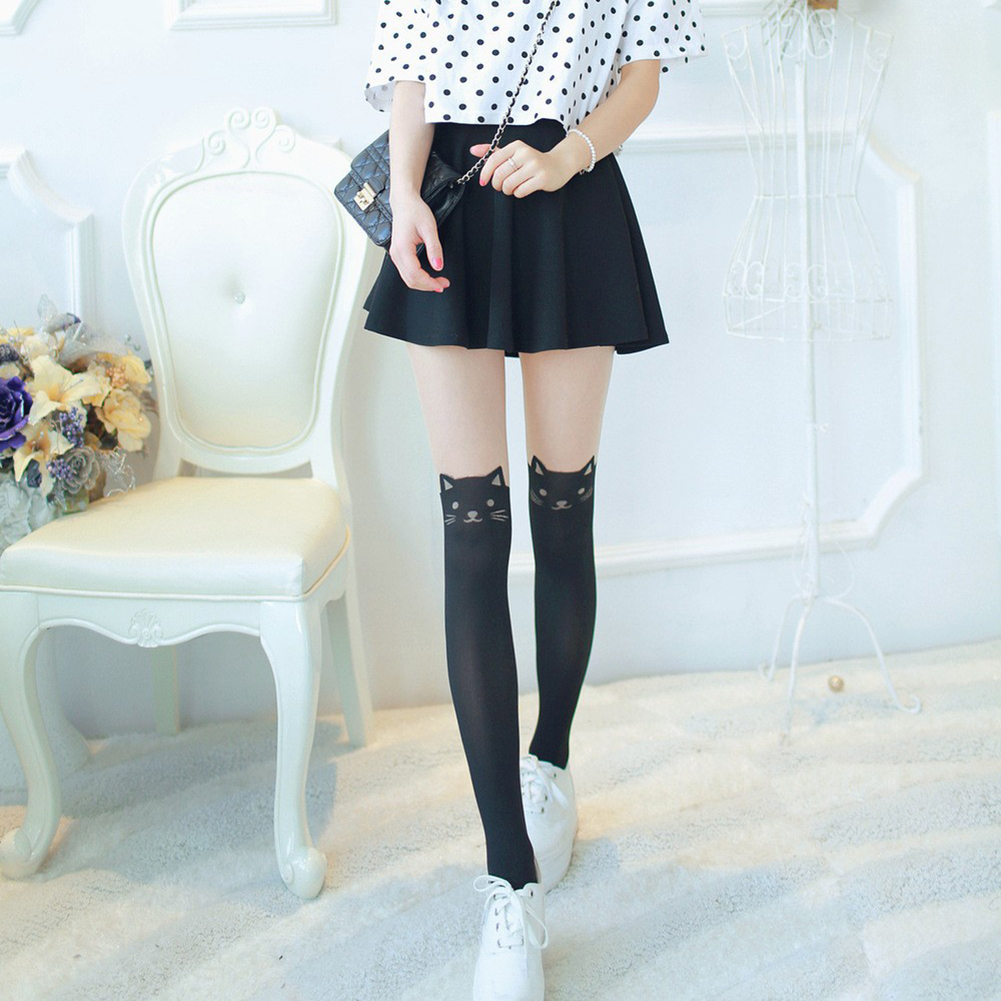 1d34489b7153 Sexy Women Cat Tail Knee High Hosiery Pantyhose Panty Hose Tattoo Tights  Hot Selling Cat Printed Pantyhose-in Tights from Underwear & Sleepwears on  ...